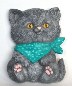 Grey Ceramic Kitten Wall Hanging