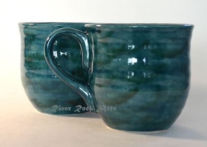 Large Teal Green Ceramic Mugs Set of 2