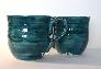 Large Teal Green Ceramic Mugs Set of 2