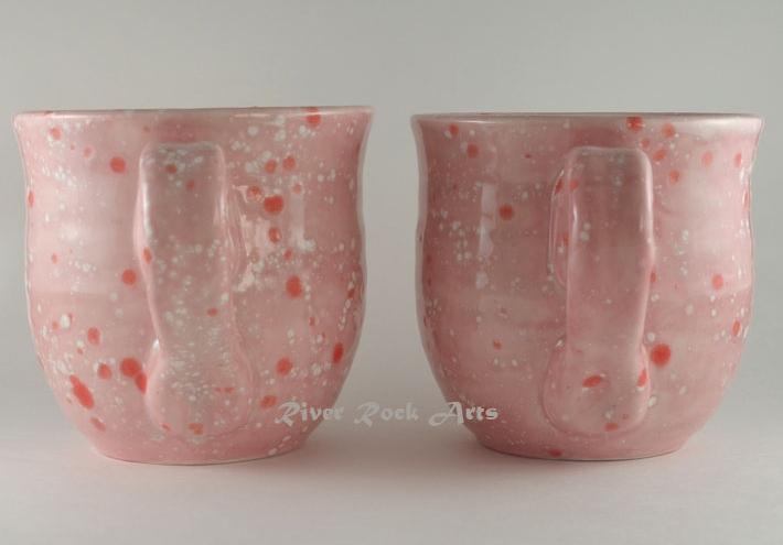 Large Cotton Candy Pink Ceramic Mugs Set of 2