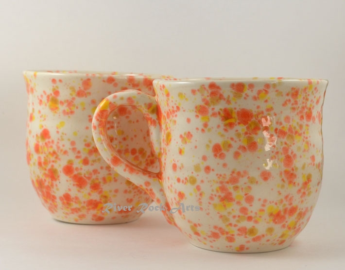 Large Orange Yellow and White Ceramic Mugs Set of 2