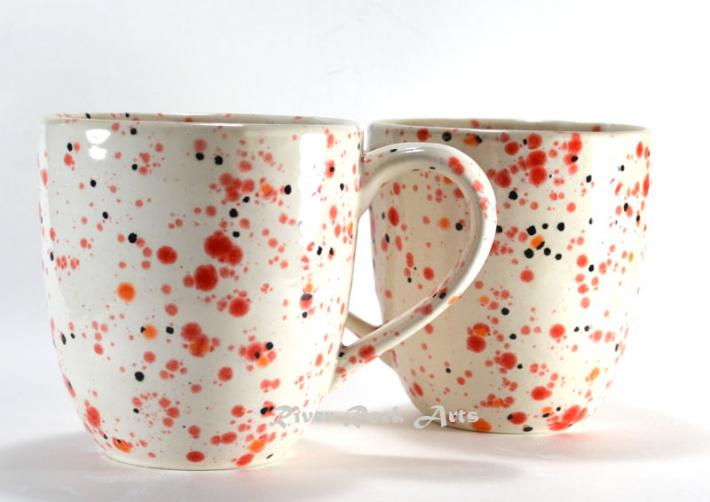 Large Fiery Red and White Ceramic Mugs Set of 2