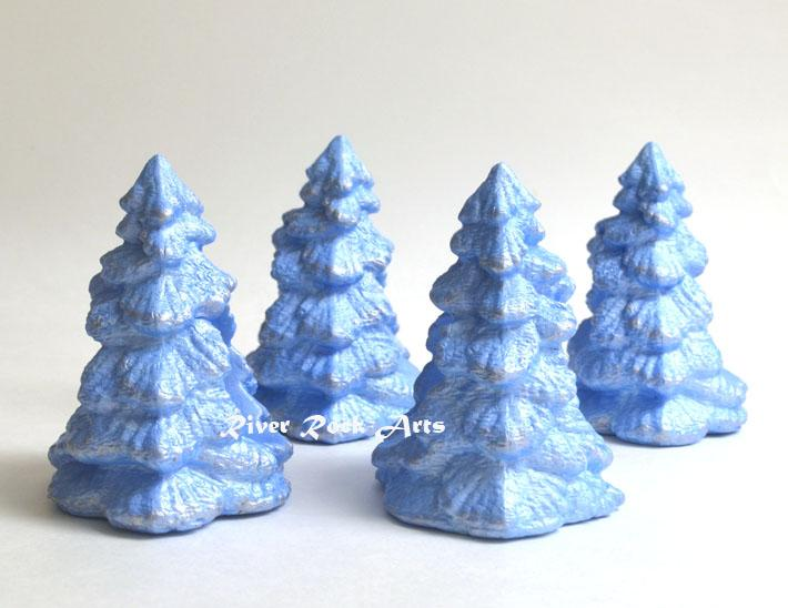 Ice Blue and Silver Christmas Tree Ceramic Napkin Rings Set of 4