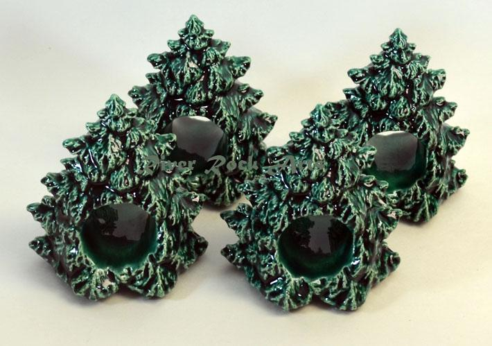Ceramic Evergreen Tree Napkin Rings Set of 4