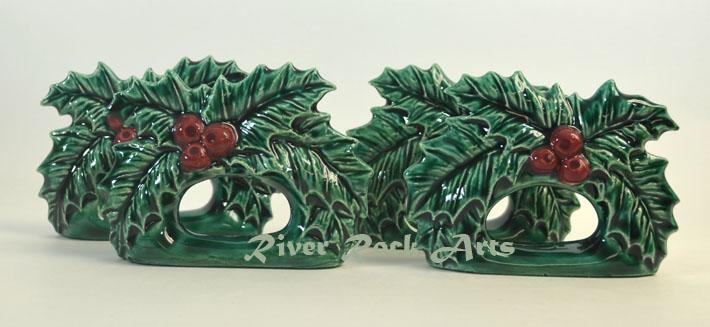 Christmas Holly Leaves Ceramic Napkin Rings Set of 4