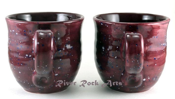 Large Plum Purple Ceramic Mugs Set of 2