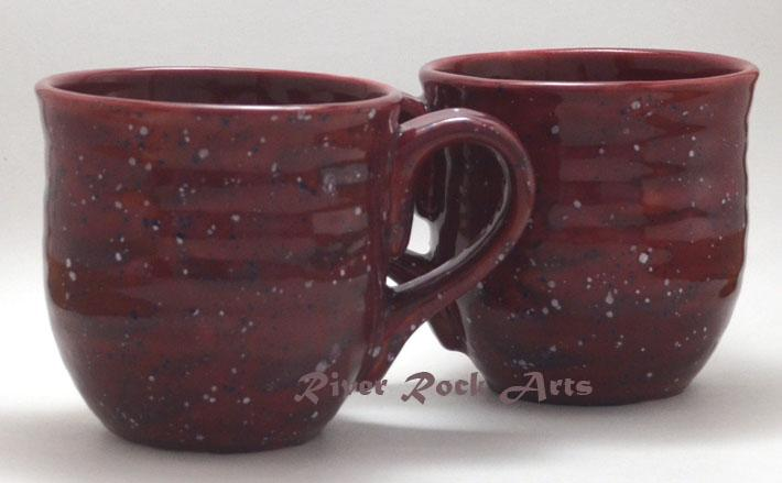 Large Medium Rose Ceramic Mugs Set of 2