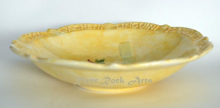 Large Gold Hand Painted Ceramic Pasta Bowl