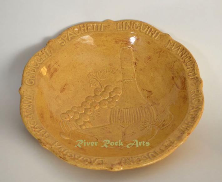 Large Antique Gold Pasta Bowl