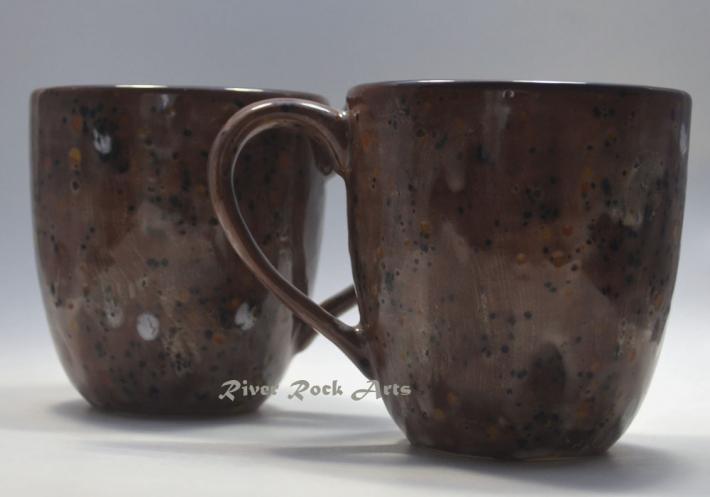 Large Chocolate Brown Marshmallow Ceramic Mugs Set of 2