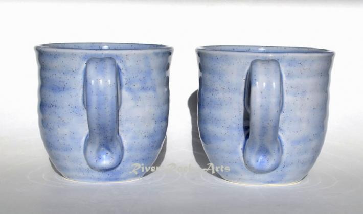 Large Lavender Blue Ceramic Mugs Set of 2