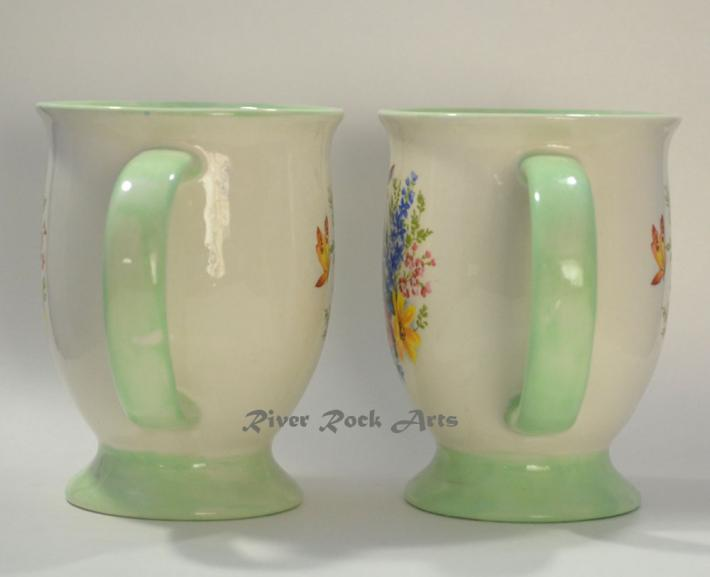 Footed Light Green Spring Bouquet Ceramic Mugs Set of 2