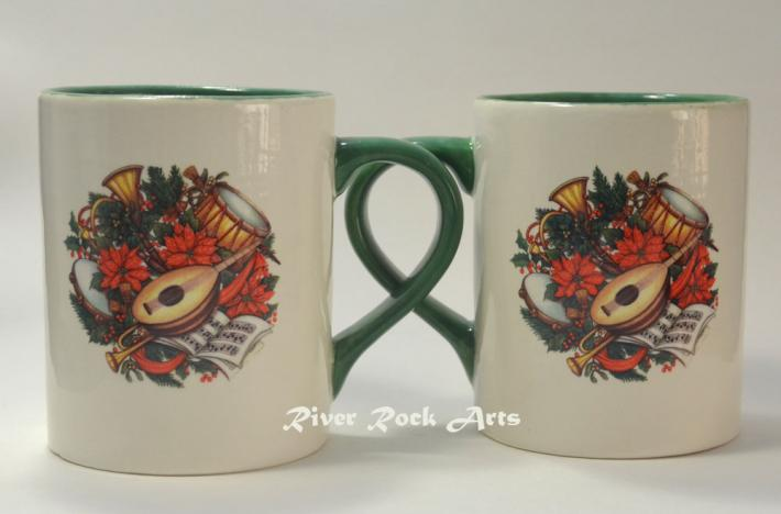 Green Christmas Musical Instruments Ceramic Mugs Set of 2
