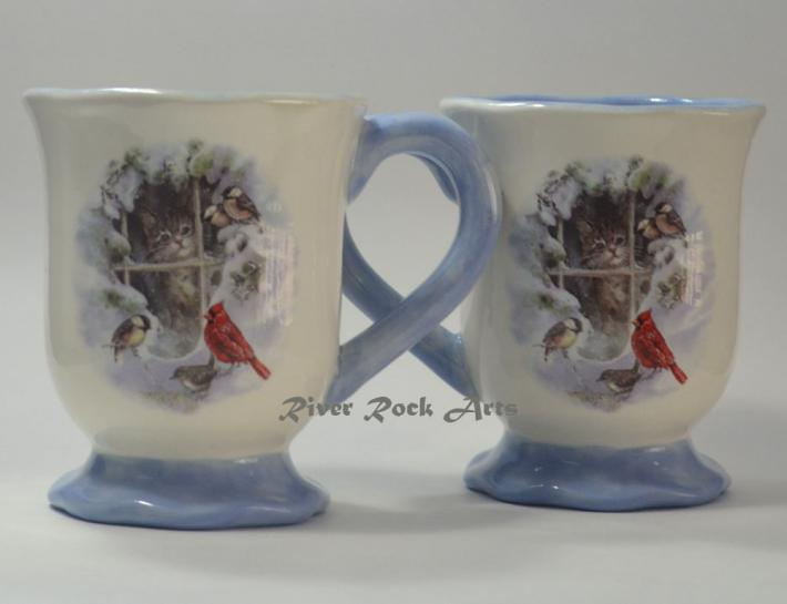 Lavender Blue Kitten in Snowy Window Ceramic Mugs Set of 2