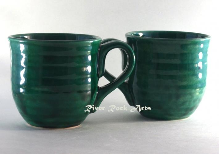 Large Light Emerald Green Ceramic Mugs Set of 2