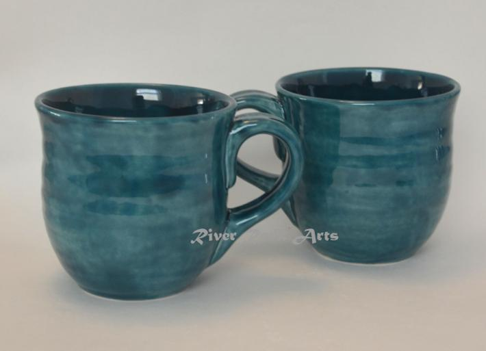 Large Peacock Blue Ceramic Mugs Set of 2