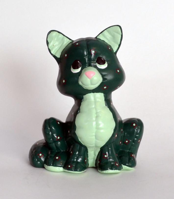 Green Soft Sculpture Look Ceramic Kitten