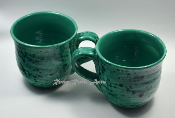 Large Sea Green Ceramic Mugs Set of 2
