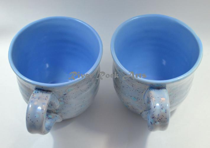 Large Baby Blue Ceramic Mugs Set of 2