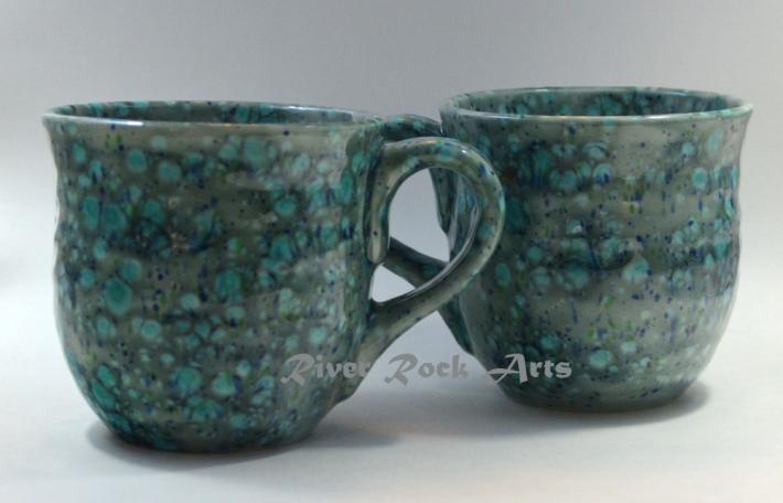 Large Jungle Green Ceramic Mugs Set of 2