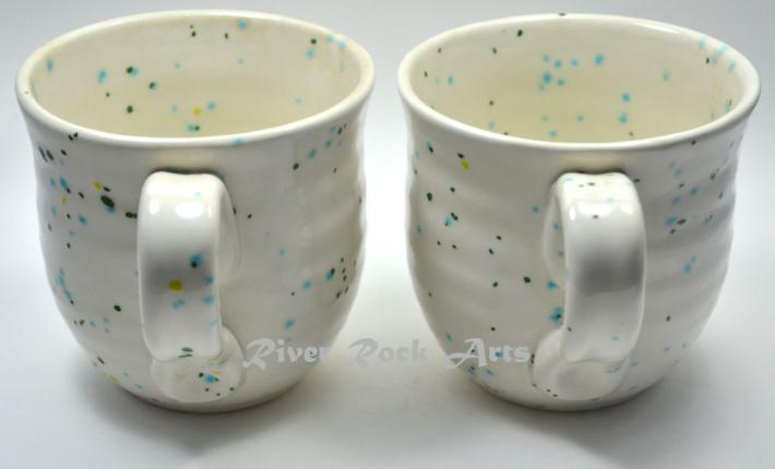 Large Cool Mint Green and White Ceramic Mugs Set of 2