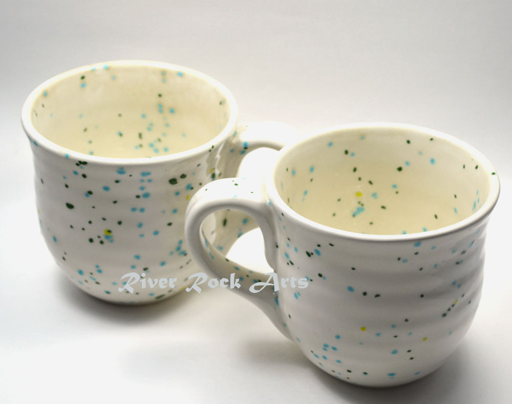 Large Cool Mint Green And White Ceramic Mugs Set Of 2 On