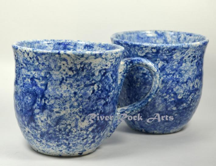 Large Blue Marble Ceramic Mugs Set of 2