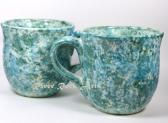 Large Turquoise Marble Ceramic Mugs Set of 2