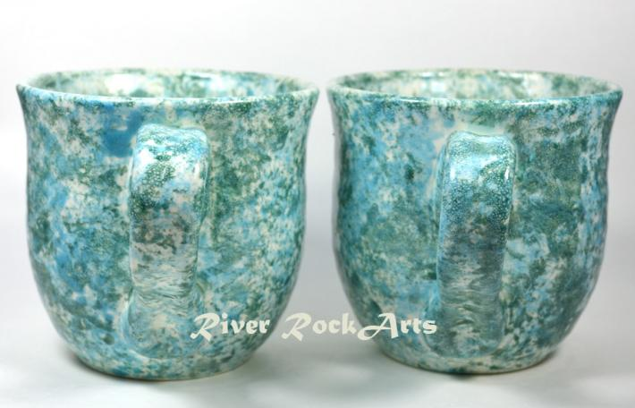 Large Turquoise Marble Ceramic Mugs Set of 2