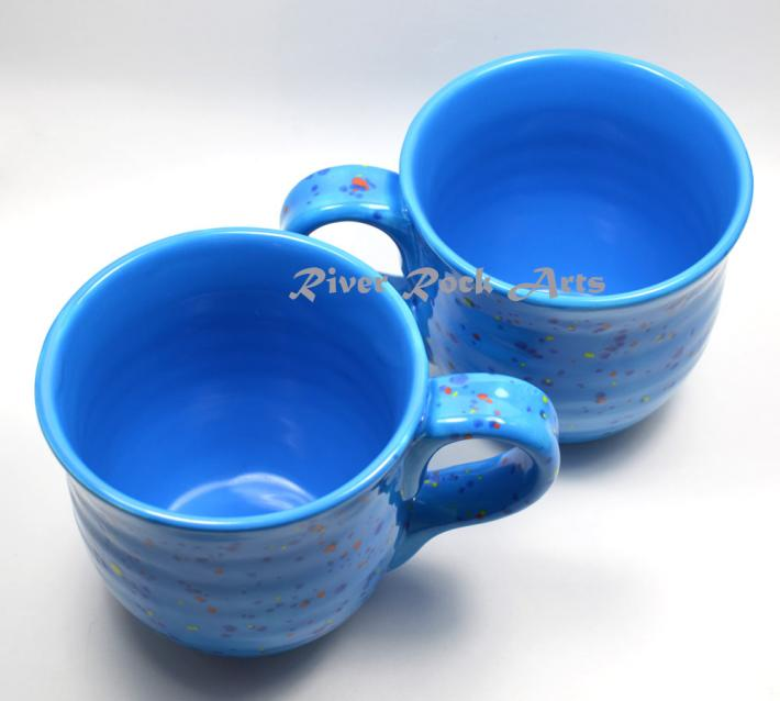 Large Neon Blue Ceramic Mugs Set of 2