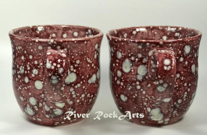 Large Burgundy Snowstorm Ceramic Mugs Set of 2