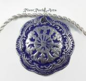 Bright Purple and Silver Vintage Style Ceramic Necklace