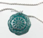 Bright Turquoise and Silver Vintage Style Ceramic Necklace