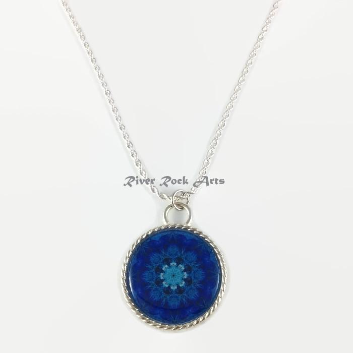 Royal Blue Coral Silver Plated Rope Edged Art Necklace
