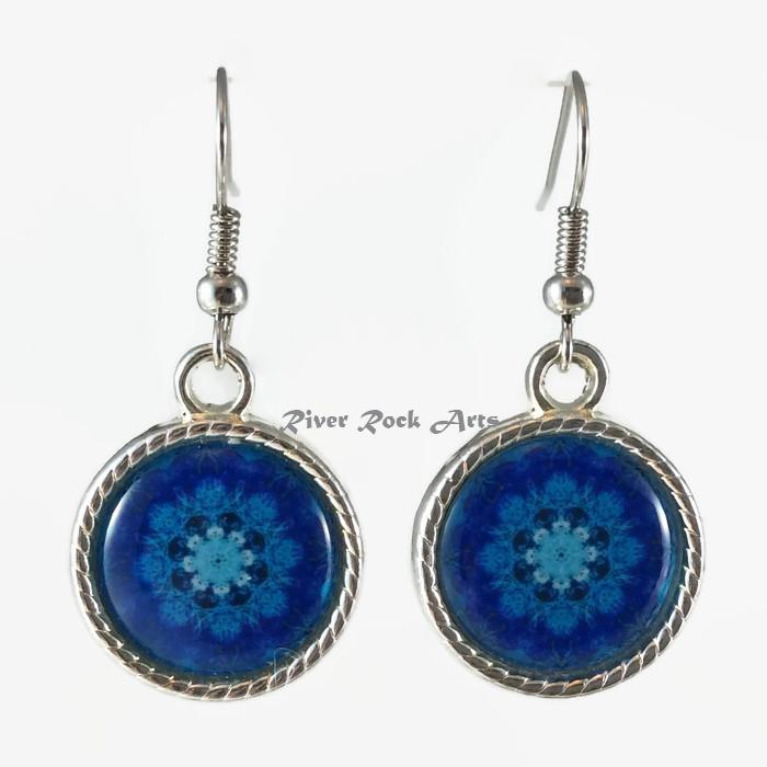 Royal Blue Coral Silver Plated Rope Edged Art Earrings