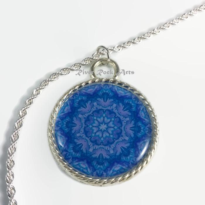 Turquoise and Lavender Victorian Floral Silver Plated Rope Edged Art Necklace