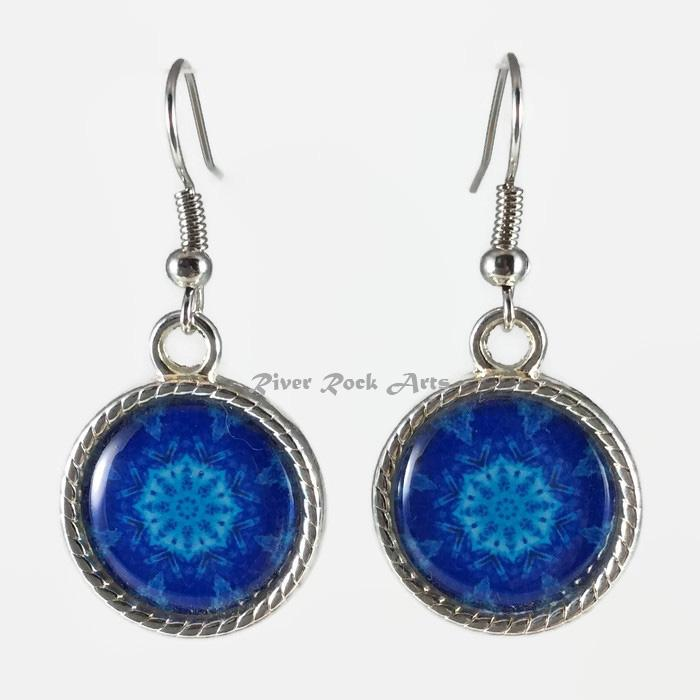 Blue Mountain Snowflake Silver Plated Rope Edged Art Earrings