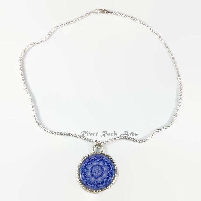 Blue Rose Silver Plated Rope Edged Art Necklace