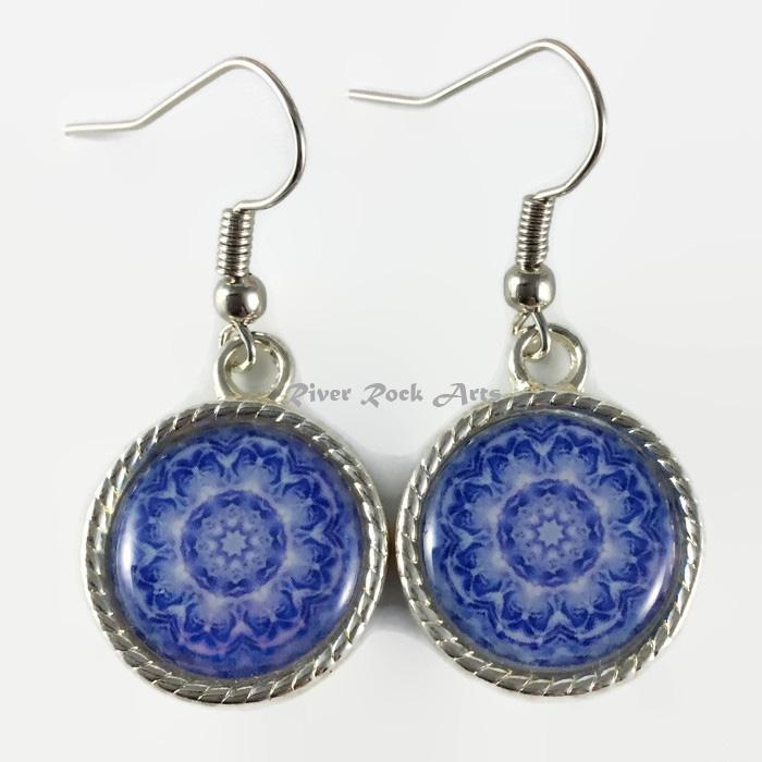 Blue Rose Silver Plated Rope Edged Art Earrings