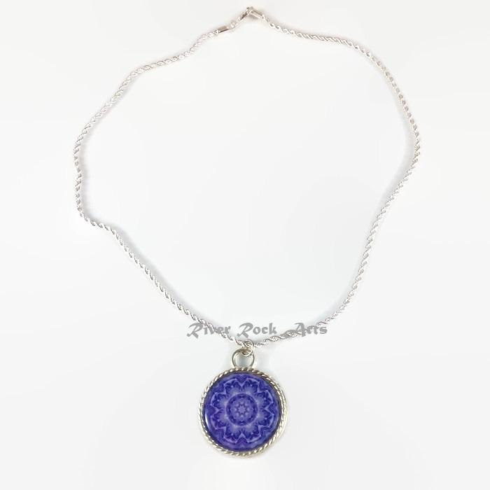 Purple Rose Silver Plated Rope Edged Art Necklace