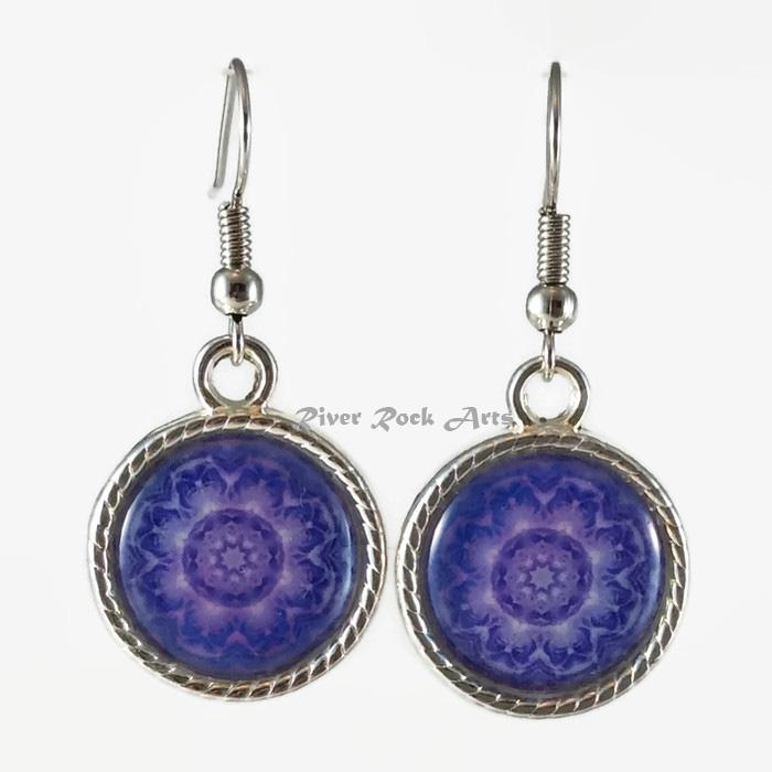 Purple Rose Silver Plated Rope Edged Art Earrings