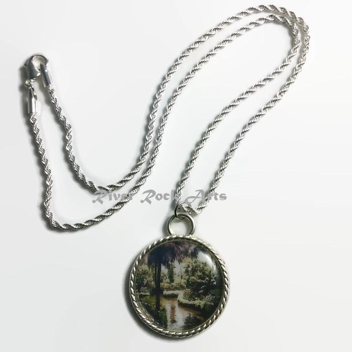 Tropical Garden Paradise Silver Plated Rope Edged Photo Necklace