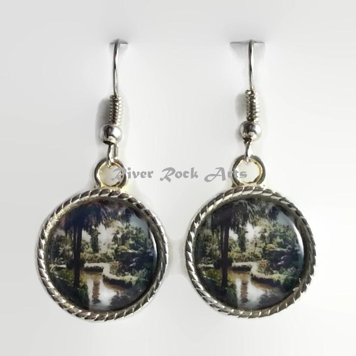 Tropical Garden Paradise Silver Plated Rope Edged Photo Earrings
