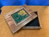Handmade Wooden Box with Tooled Leather Inlay