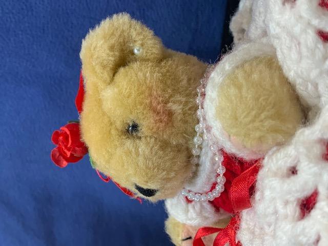 Teddy Bear with Hand Crocheted Dress