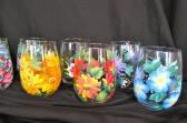 Floral Stemless Wine Glasses Set of 4 Hand Painted Mixed Floral Designs