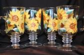 Coffee Mugs Hand Painted with Sunflowers
