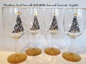 Christmas WIne Glasses with Swarovski  Crystal Accents