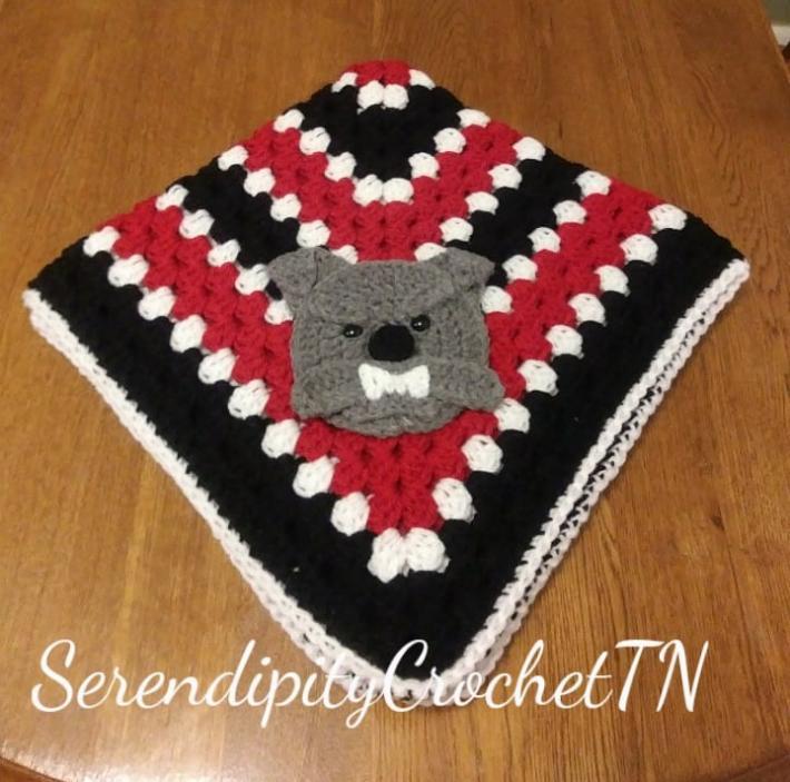 crocheted bulldogs granny square  blanket