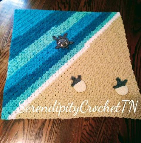 crocheted turtles out to sea blanket FREE SHIPPING